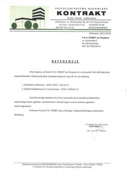 Referencje P.B. KONTRAKT