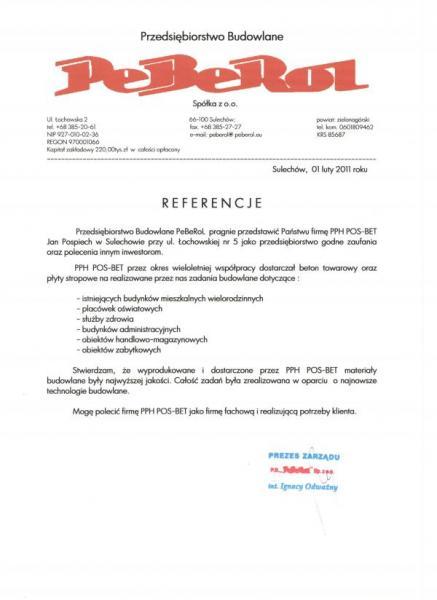 Referencje PEBEROL